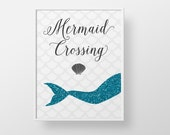 Mermaid Crossing Print - Glitter sparkle teal aqua custom color ocean sea nautical swim childrens girls teen bathroom decor wall art glam