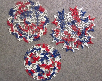 Set of 3 Handmade Crocheted Red, White & Blue Cotton Cloth Doilies
