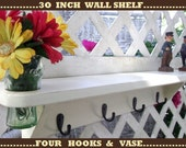 "4 Hook Rail 30 in.Wall Shelf with Recessed Vase.. ""Antique White over Tan"" or You Choose Color..."