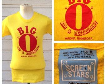 1980's BIG O bar - restaurant t-shirt, soft & thin, S-M