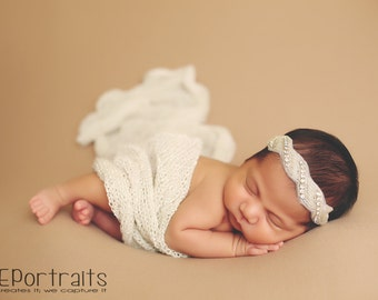 new born knitted stretch wrap,and lace and rhinestone headband