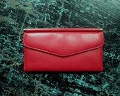 Clutch Wallet lipstick red leather womens coin purse long slim shape bright red wallet card pockets fleur de lis vintage 70s 1970s