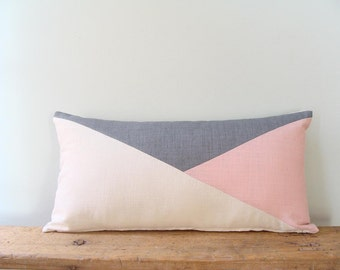 Blush Pink Lumbar Pillow/Rose Quartz/off White/Grey/Lumbar Pillow Cover/Triangle/Custom Size/Handmade/Eclectic/ZigZag Studio Design