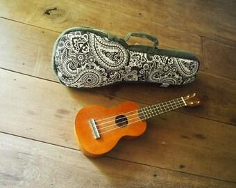soprano ukulele case - Black and White Paisley Ukulele Bag (Ready to ship)