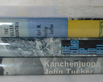 vintage book stack, Mountaineering collection, 1960's, from Diz Has Neat Stuff
