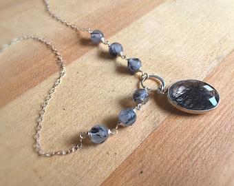 Black Necklace - Black Rutilated Quartz Necklace - Tourmalinated Quartz Necklace - Gemstone Jewelry - Sterling Silver Jewellery