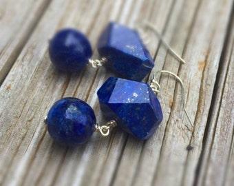 Navy Blue Lapis Earrings - Lapis Jewelry - Sterling Silver Jewelry - Gemstone Jewellery - Denim - Dangle - Fashion