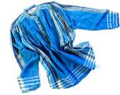 Vintage 70's ZodiAC Aqua Cotton Top Shirt Boho Hippie Blouse Deadstock
