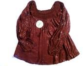 Vintage Brown Gauze Cotton Crochet Top Poet Sleeve Shirt Boho Hippie Blouse 70's Deadstock ZODIAC