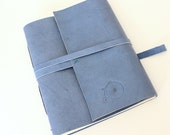 SECONDS Large Blue Leather Journal Sketchbook with Embossed Bycicle