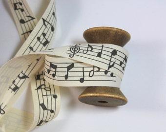"3/4"" Cotton Ribbon - Cotton Canvas Ribbon - Music Notes - 2 Yards"