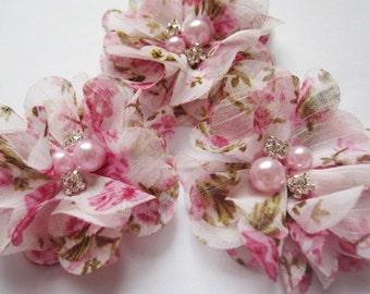 "10 Chiffon 2"" Floral Flower Rhinestone Pearl-Pink D007-1"