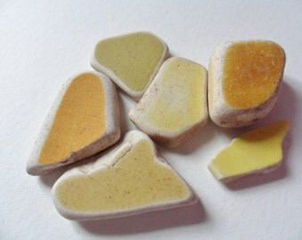 6 yellow sea pottery shards - Lovely English beach find pieces