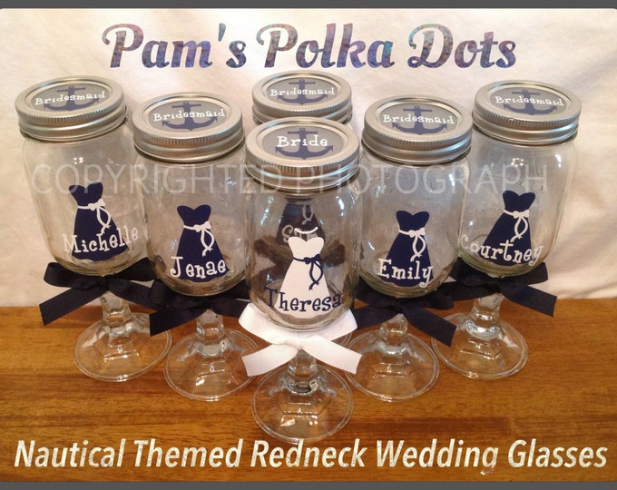 Personalized Bride & Bridesmaids REDNECK WINE GLASS dress name polka dots nautical anchor Bridal Bachelorette Gifts Wedding Party Favor