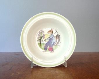 Vintage Arabia Finland Hupi Child's Bowl - Squirrel Gardener