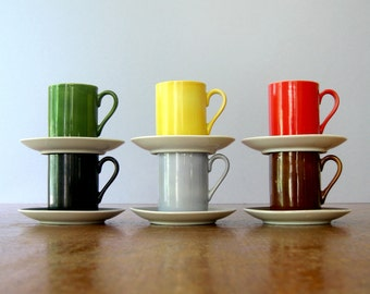 Mid Century Freeman Lederman Demitasse Cups / Saucers - Set of Six