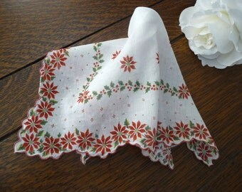 Vintage Christmas Red & White Poinsettia Handkerchief