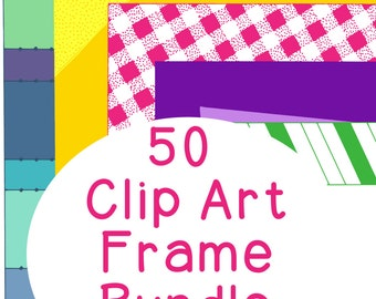 50 Frames Multicolor Clip Art Bundle Set 2, PNG JPG, Blackline Included, Commercial Personal, Dots, Gingham, Stripes, Photo Corners