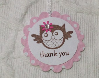 Set of 12 Pink Polka Dot Owl Thank You Tags - Favor Gift Tags - Party Tags  - Baby Shower