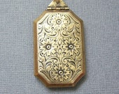 OOAK  Vintage Floral Large Locket Pendant/Brass Locket/Floral Locket/