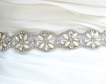 SALE  Wedding Belt, Bridal Belt, Sash Belt, Crystal Rhinestones & Pearls