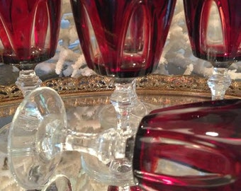 Vintage Set of Ruby Red French Glasses, Made in France, Cordials