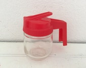 Small Retro Red Lidded Syrup Pitcher - Vintage Diner - Travel Trailer - Kitchen - Syrup Server - Farmhouse - French Country - Cottage Decor