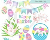 Easter Digital Clipart, Easter Bunny Clipart, Happy Easter Word Art