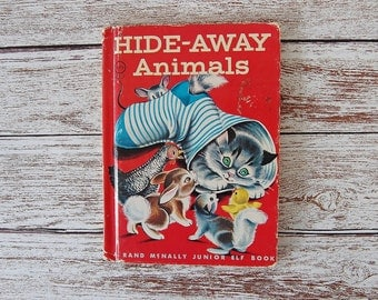 Vintage Kid's Book about Animals, Elf Book, Hideaway Animals, Red Book
