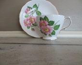 Tea Cup Porcelain Teacup Royal Vale Bone China Teacup and Saucer Pink Flowers Housewarming Gift Tea Service Floral Teacup