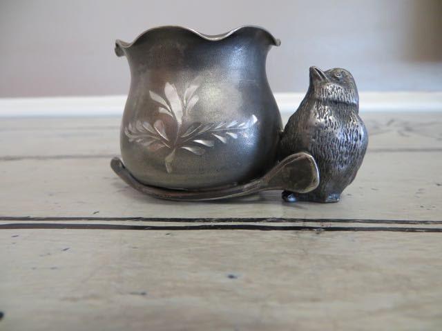 Bird pewter bird silver plated bird toothpick holder egg cup - Bird toothpick holder ...
