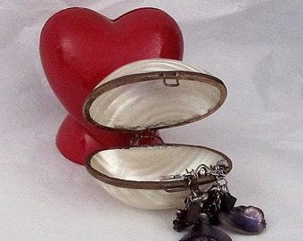 Vintage Estate Handmade Abalone Shell Trinket Box with Lever Back Purple Shell Pierced Earrings Gift Knick Knack Keepsake