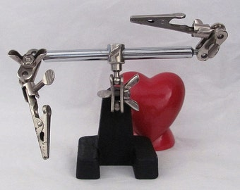 Vintage Jewelers  Adjustable Instrument Clamp Cast Iron Base and Metal Arms Small Project Crafts Supplies Industrial