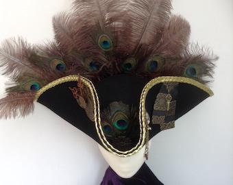 Gothic  steampunk pirate tricorn hat Marie Antoinette
