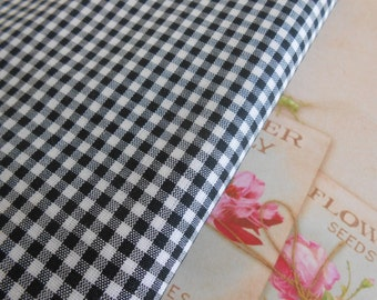 Fabric Zephir Cotton Black Gingham 1yard