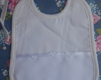 Bib White to Stitch Baby Newborn Cotton