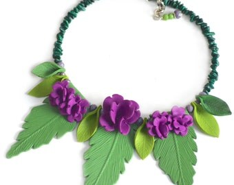 Statement Necklace, Leaf Necklace with Purple Flowers, Handmade, Nature Inspired, Polymer clay necklace