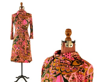 Vintage 1960's Mod Psychedelic Abstract Op Art Paisley Bright Pink + Green Shift Mini Dress M