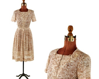 Vintage 1950's Sheer Brown Nylon French Romantic Garden Novelty Print Summer Party Dress S SALE