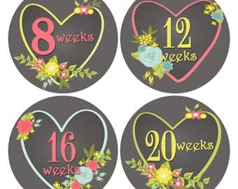Pregnancy Stickers, Chalkboard Baby Bump Stickers, Heart Belly Stickers, Pregnancy Reveal, Pregnancy Week Sticker Gender Reveal (355)
