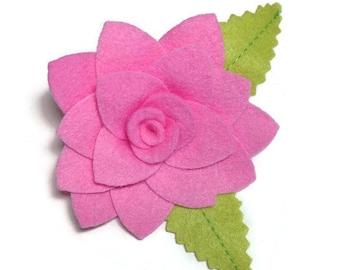 Large Pink Rose Dog Collar Flower Removable