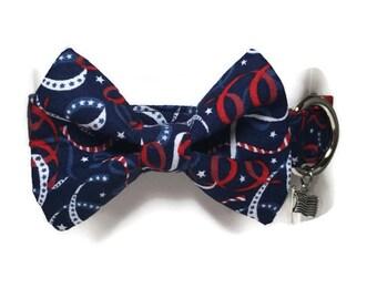 Patriotic Celebration Bow Tie Dog Collar size Large