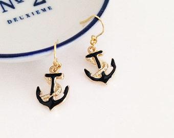 Nautical anchor black gold 16KGP pierced earrings jewelry Japan zakka
