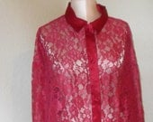 Vintage Sheer Lace Nightshirt Victoria's Secret Red