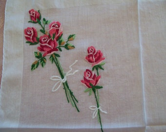 Vintage Springtime Handkerchief Red Embroidered Rose Bouquet