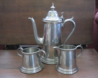 Vintage Pewter Coffee Pot with Sugar and Creamer