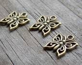 15 Antiqued Bronze Butterfly Charms 15mm
