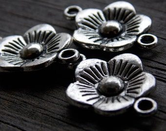 Silver Flower Connectors, Silver Flower Charms, Antiqued Silver, 22mm, 8pcs