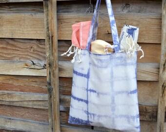 Organic Canvas Tote- Shibori Bag- Market Tote