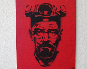 Breaking Bad Multilayer Graffiti Stencil Art on Canvas Board 8x10
